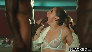 BLACKED Tori Black Is Oiled Up And Dominated Wide of Two BBCs