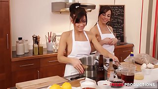 Hardcore porn star group carnal knowledge in the kitchen with Shana Lane
