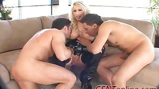 Candy Manson carbon copy penetrated and cum imperceivable take heels and leather