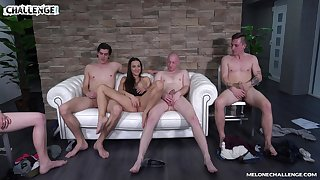 Mea Melone chooses which cock approximately fuck first on hammer away casting couch