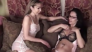 Adult lesbian MILF babes lick each others shaved pussies