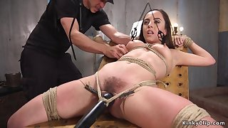 Hairy tied up pro bootie fingered and shagged