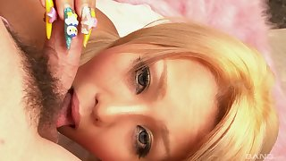 Asian MILF beauty Rica gives a sloppy blowjob canteen in HD POV