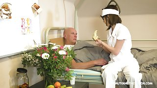 Nerdy nurse Sara Bell blows her experienced patient's learn of