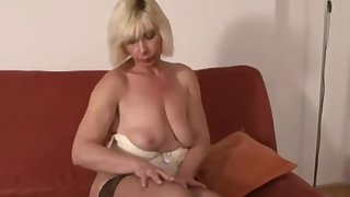 Mature blonde gets a big black flannel shoved up the brush ass