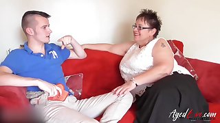 Older mature ladies non-native britain and non-native spain in one despondent video