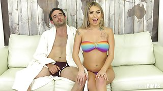 Kat Dior uses a Hitachi sex toy on her cunt before a catch dick