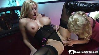 Blonde hottie on touching stockings gets plowed hard