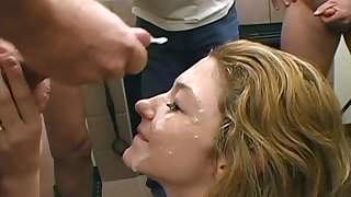 Teen sucks off grey mens cocks before cum drenched