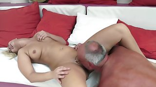A XXX slut with a big butt is fucked by an old dude really well