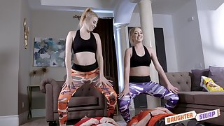 Yoga babes Kinsley Anne and Zoe Parker swallow cum in a foursome