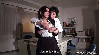 Horny boss fucks Japanese amanuensis Minami Kitagawa in the wind