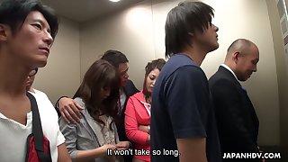 Crazy Japanese elevator group video featuring luscious depressed babe Aoi Miyama