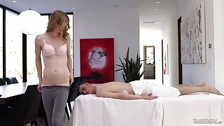 Ladyboy Mandy Mitchell gives a massage before passionate anal sexual congress