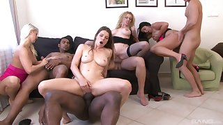 Mature Colette and their way classy girls swallow cum in a hardcore orgy