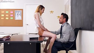 Bird coed live-in lover Allie Addison lures tutor coupled with rides his dick on the directors