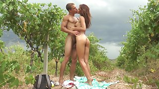 Attractive and wild Kate enjoys hardcore outside fuck with a friend