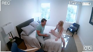 Grotesque blue-eyed stepsister Emma Starletto is fucked and jizzed in front of hidden camera