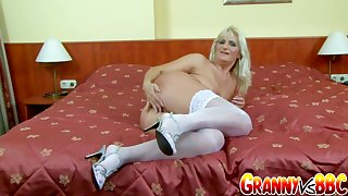 Granny Vs BBC - Blonde Senior Slut Niko Gets Railed by a Black Supplicant