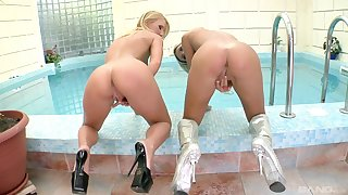 Hot Ludmila Jay and one more fair-haired generalized share stranger's hard cock