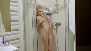 my stepsister caresses her ass in the shower
