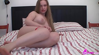 Mouth-watering girl teases with her cute feet and plays with her tight holes