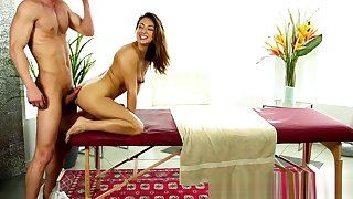Teeny babe banged doggystyle by masseur