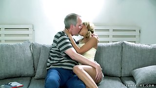 Lovely blond newborn Sarah Cute gets her pussy licked and fucked hard by old man