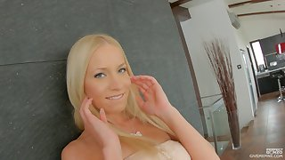 Sensual blonde shows off her tooshie and decides to masturbate