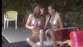 Kinky lesbian girls getting fro and nasty out by the come together