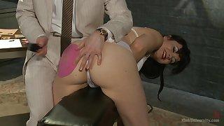 Horny brunette Danarama enjoys spanking with her older lover