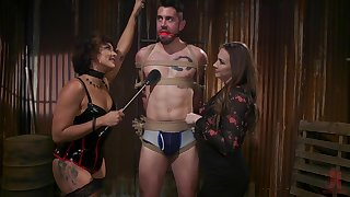 Hot mistress Chanel Preston and her subordinate fuck one tied up submissive man