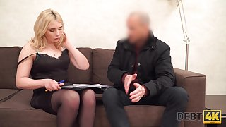 Lustful blondie with plump contraband Maria Hurricane gets fucked for debt