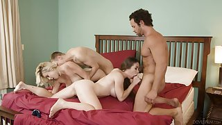Spicy girls swap partners in a glorious foursome