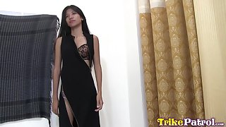 Tiresome chested Asian girl Anna is fucked and creampied by foreigner