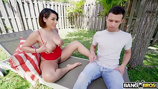 Calumny is spying on hot nextdoor latitudinarian sunbathing in thongs