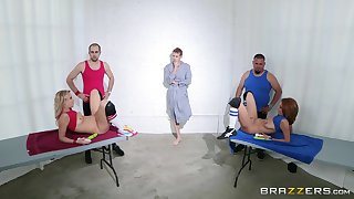Babes Ashley Graham and Zoey Monroe moan gather up during a 3-way