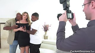 Two black dudes with monster dicks fuck leader slut Cory Chase