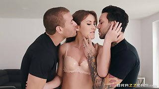 MILF gets a mimic dose of dick regarding a rough home threesome