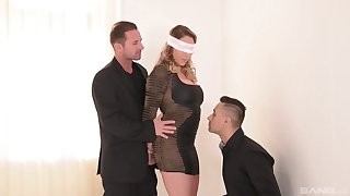 Blind folded wife receives a very tasty surprise from three marketable stallions