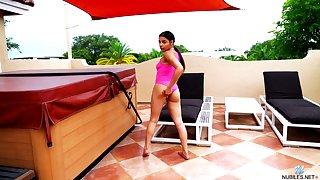 Nice Latin babe Ella Cruz is finger fucking wet yummy snatch by a catch pool