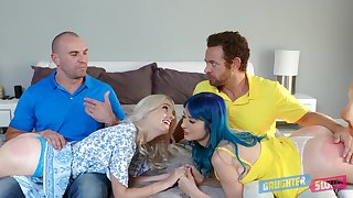 Athena Faris shares cum up her best friend after hardcore foursome sex