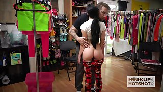 Cranky girl Alex Coal is changing her clothes about front of two extraordinary guy