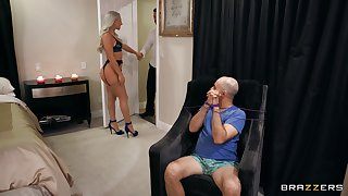 Abella Danger sports a bush while bound cuckold watches her give someone a taste