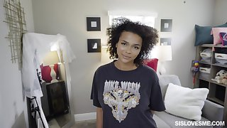 Ebony teen with curly hair, nice riding aura before swallowing