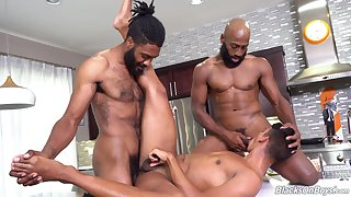 Full anal for a difficulty in one's birthday suit dudes in bareback triumvirate
