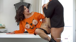 Priscilla Salerno's cute tits pop out of a Halloween top before sex