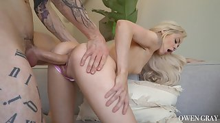 Lilliputian nympho Elsa Jean takes that big cock in her pussy pretty well