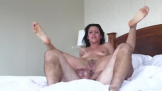 Anal ride close by hotel room drives pretty chick to squirting orgasm