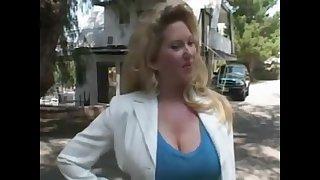 Gold Hair Latitudinarian Maturewoman Outdoors - Blowing Off
